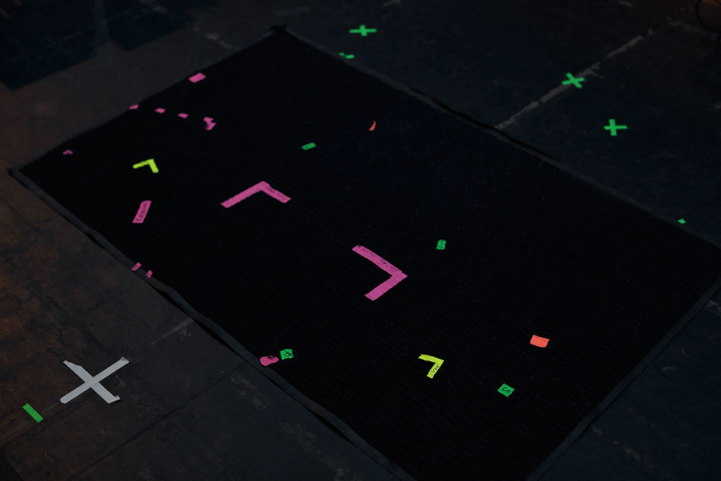 Tape markings on the stage of the Tennessee Theater indicating equipment placement for tUnEyArDs's set at the Big Ears Music Festival in 2015. Photo: Kate Joyce