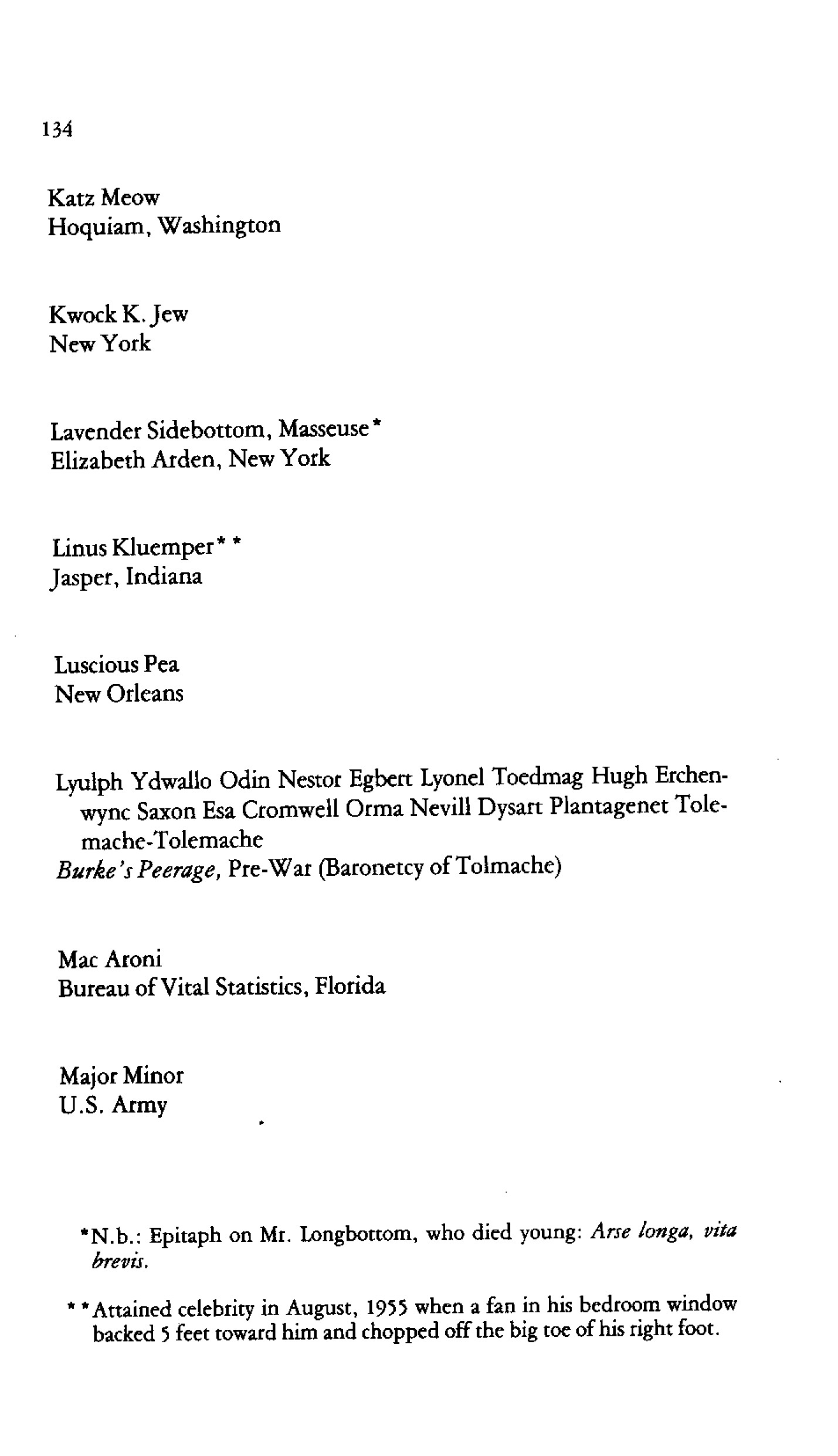 from our summer 1976 issue a list of remarkably silly names