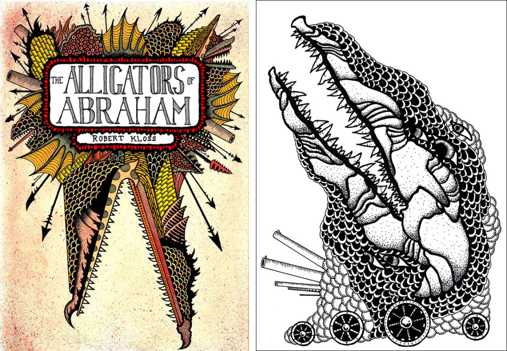 Matt Kish's cover and an interior illustration for Alligators of Abraham, by Robert Kloss.