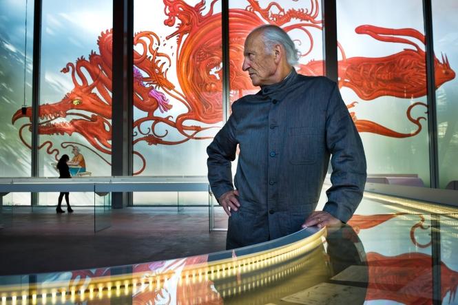 "Jean Giraud at the exhibition ""Moebius-Transe-Forme,"" in 2001. Courtesy Fondation Cartier pour l'art contemporain."