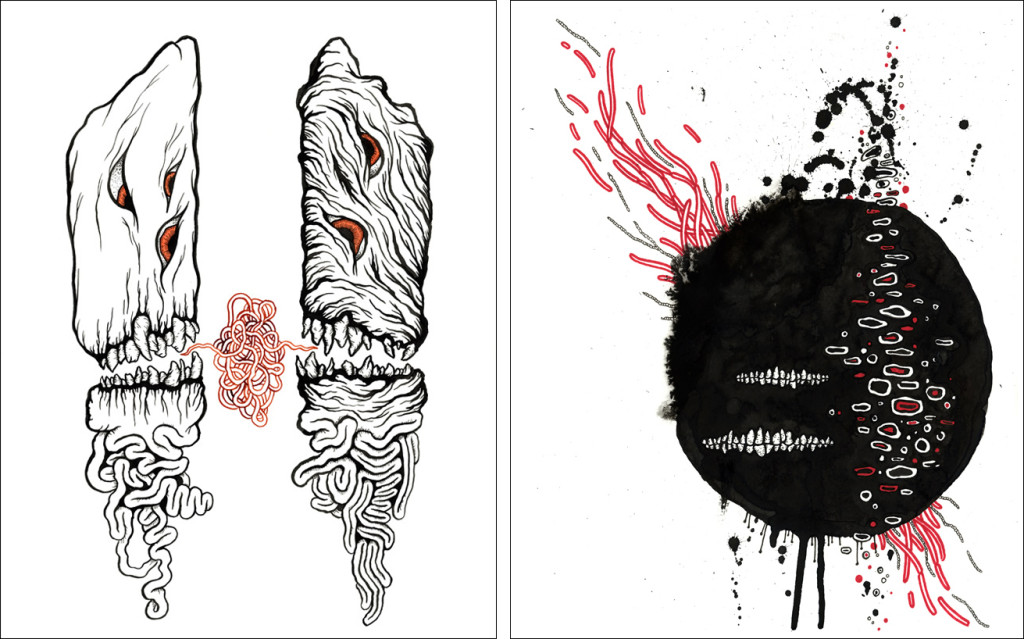Matt Kish's illustrations for The Desert Places, by Amber Sparks and Robert Kloss.