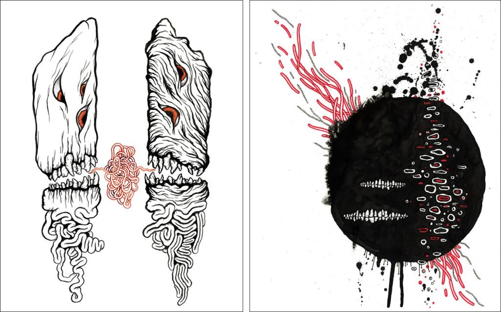 Matt Kish's illustrations for The Desert Places, by Amber Sparks and Robert Kloss.