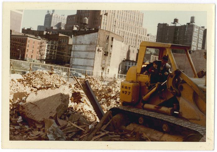 Joseph Mitchell amid the wreckage of Lower Manhattan.