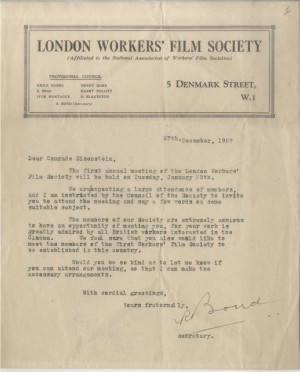 Letter from the London Workers' Film Society to 'Comrade Eisenstein', 27 December 1929 ©Russian State Archive of Literature and Art, Moscow