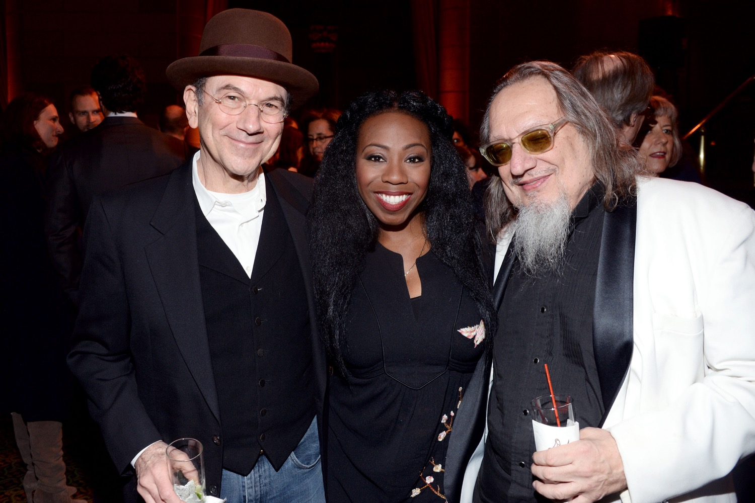 Russ Titelman, Lakendra Tookes, Larry Sloman== The Paris Review 2016 Spring Revel== Cipriani 42nd Street, NYC== April 5, 2016== ©Patrick McMullan== Photo - Clint Spaulding/PMC==