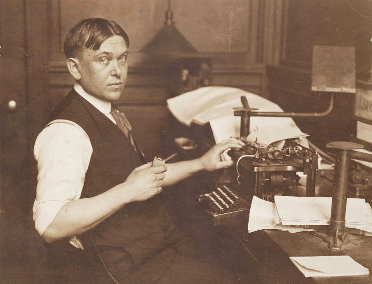 Writer Henry Louis Mencken. This photo, in the archives of the Maryland Historical Society, may have been taken in 1917, the year of Mencken's not-famous-enough hoax on poor old Millard Fillmore.