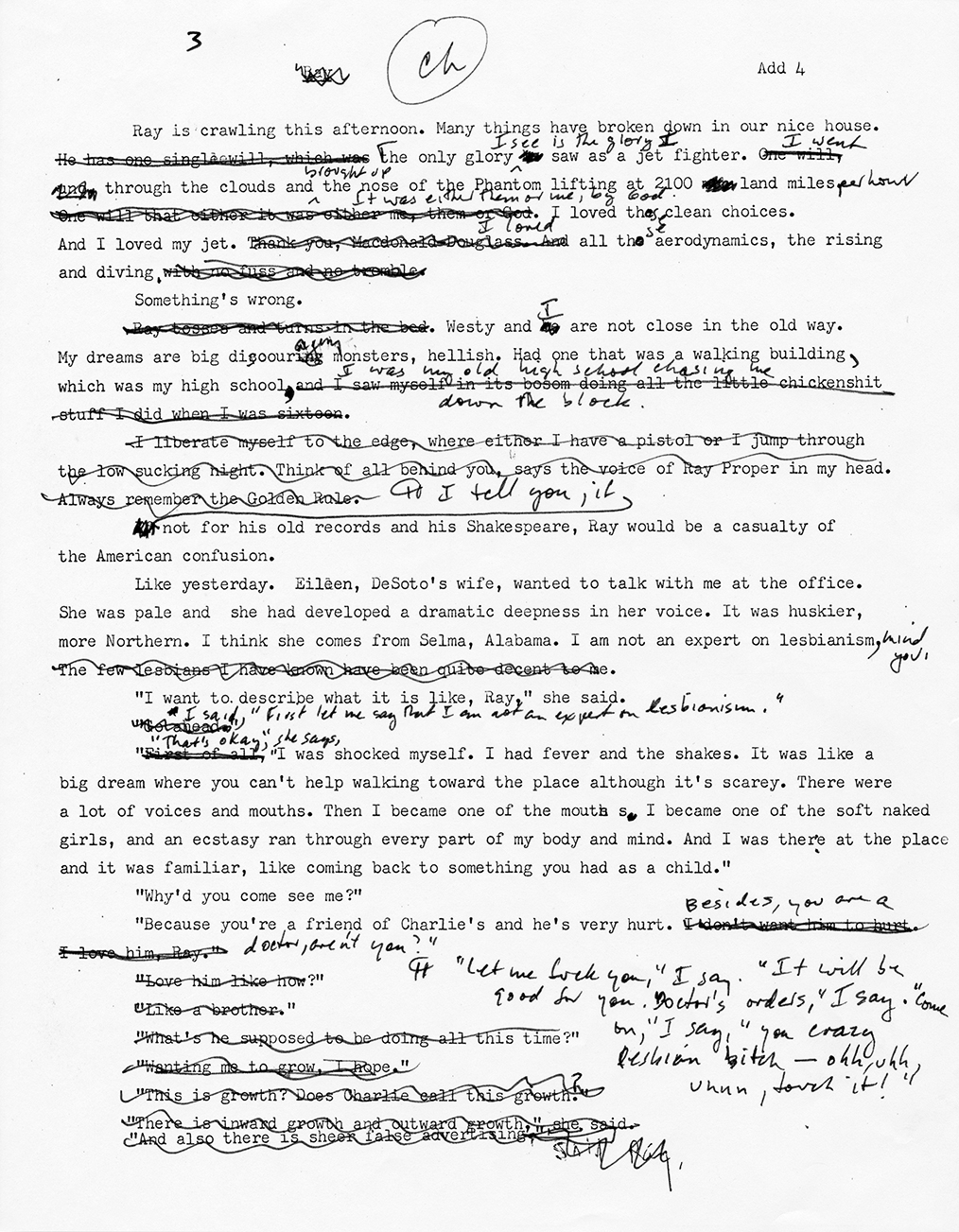 Edited manuscript page of Barry Hannah's Ray (1980).