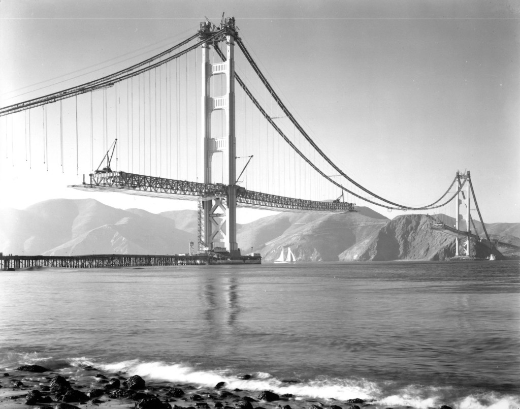 The Golden Gate Bridge under construction.