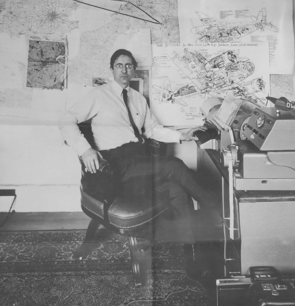 Len Deighton at his home office in London.