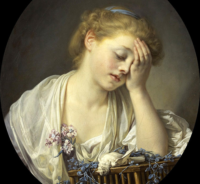 A Girl With A Dead Canary, Jean Baptiste Greuze, 1765.