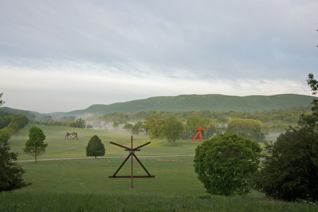 Mark di Suvero, installation view at Storm King Art Center, Mountainville, NY. From left: Pyramidian, 1987/1998; Beethoven's Quartet, 2003, Courtesy Tippet Rise Art Center; Mon Père, Mon Père, 1973-75; Mother Peace, 1969-70. Except where noted, all works Gift of the Ralph E. Odgen Foundation. Photo: Jerry L. Thompson.