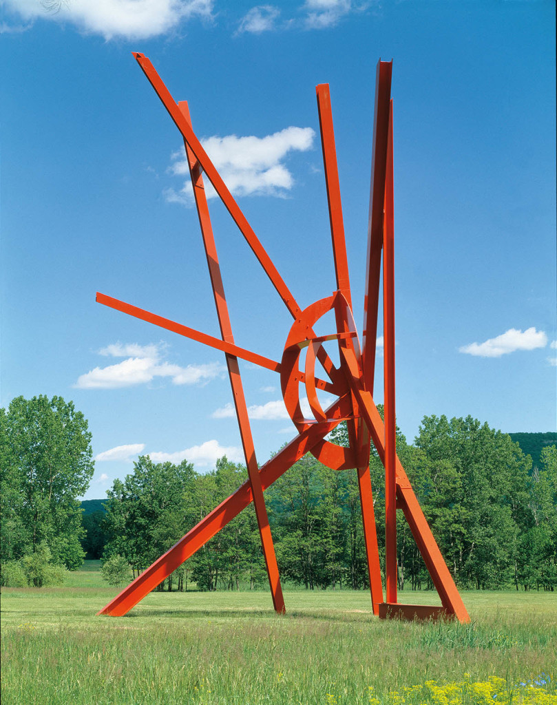 Mark di Suvero, Jambalaya, 2002-6. Painted steel, 60 x 40 x 35'. Collection of the artist. Installation view at Storm King Art Center. Photo: Jerry L. Thompson.