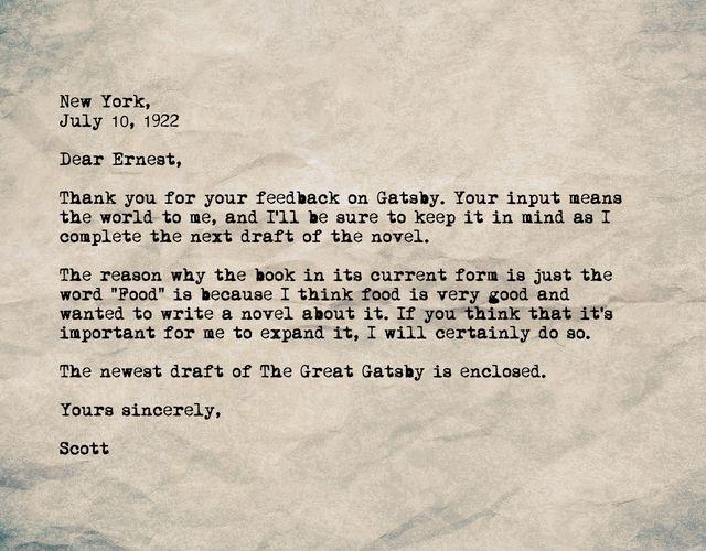 A letter of gratitude to Ernest Hemingway.