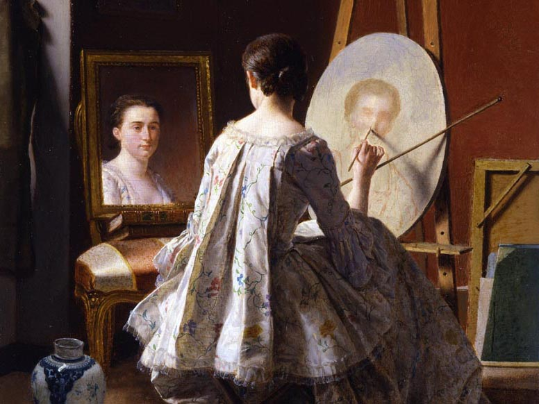 Jean Alphonse Roehn, Portrait of an Artist Painting Her Self Portrait