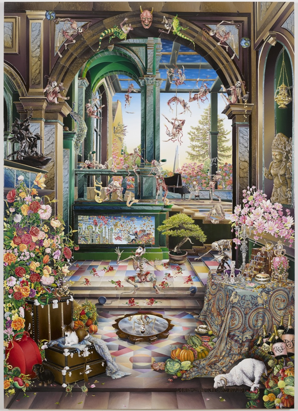 Raqib Shaw Self Portrait in the Studio at Peckham (After Steenwyck the Younger) II 2014-2015 (medium res) 1