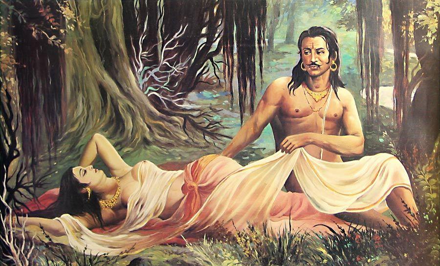 Raja Ravi Varma, painting of a scene from Kālidāsa's play Abhijñānaśākuntalam.
