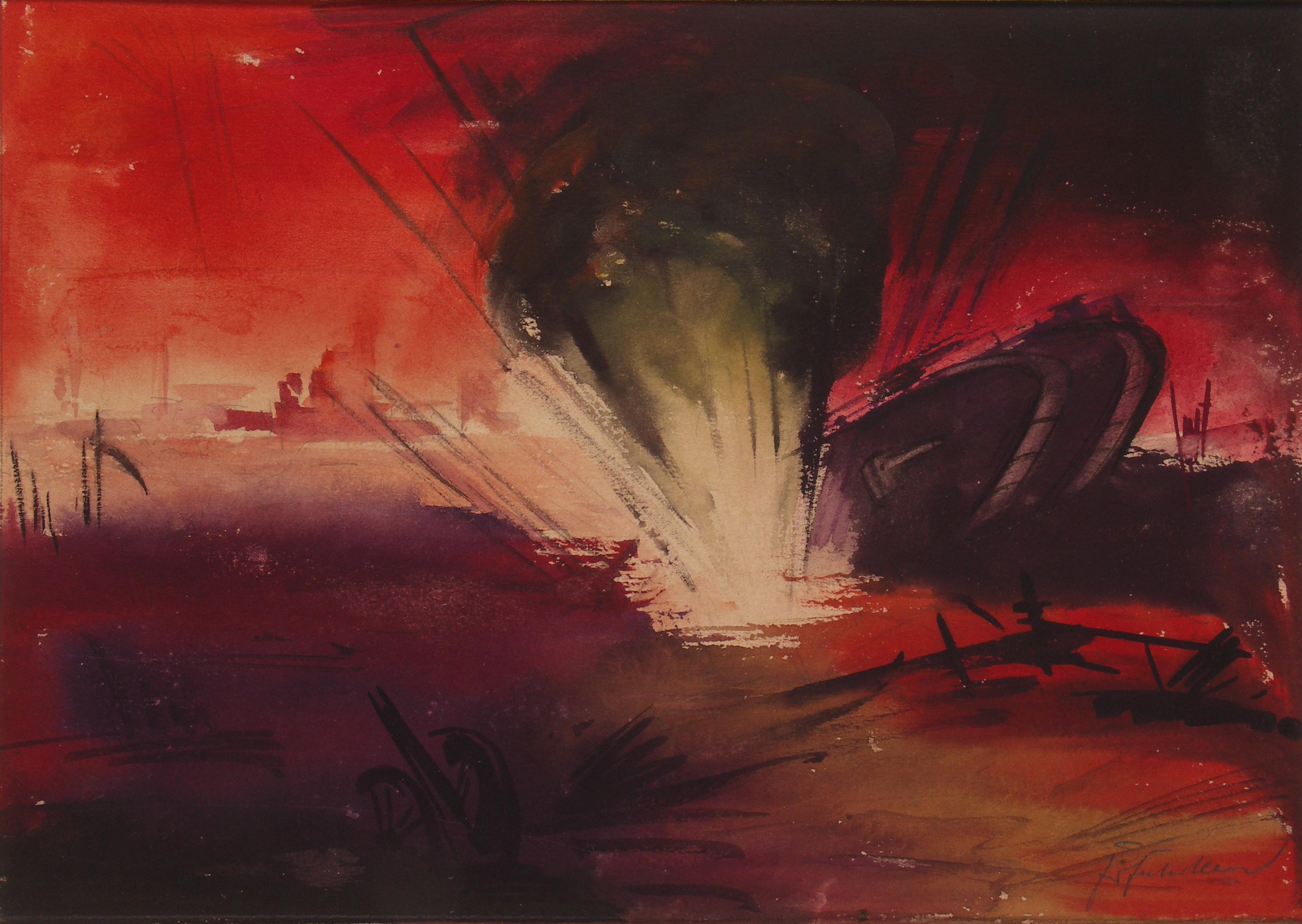 Fritz Fuhrken, Granate trifft englischen Panzer, Somme Schlacht, 1918.