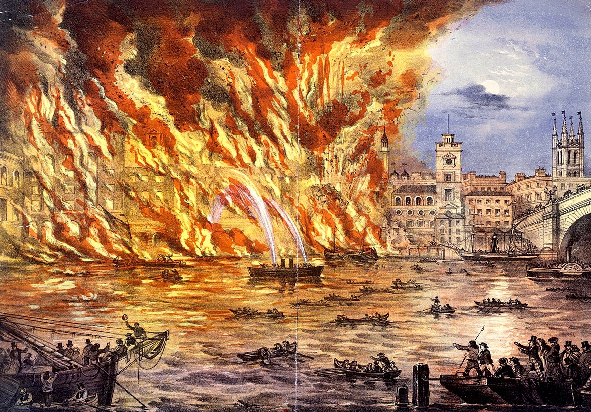 An 1861 lithograph of the great fire of london