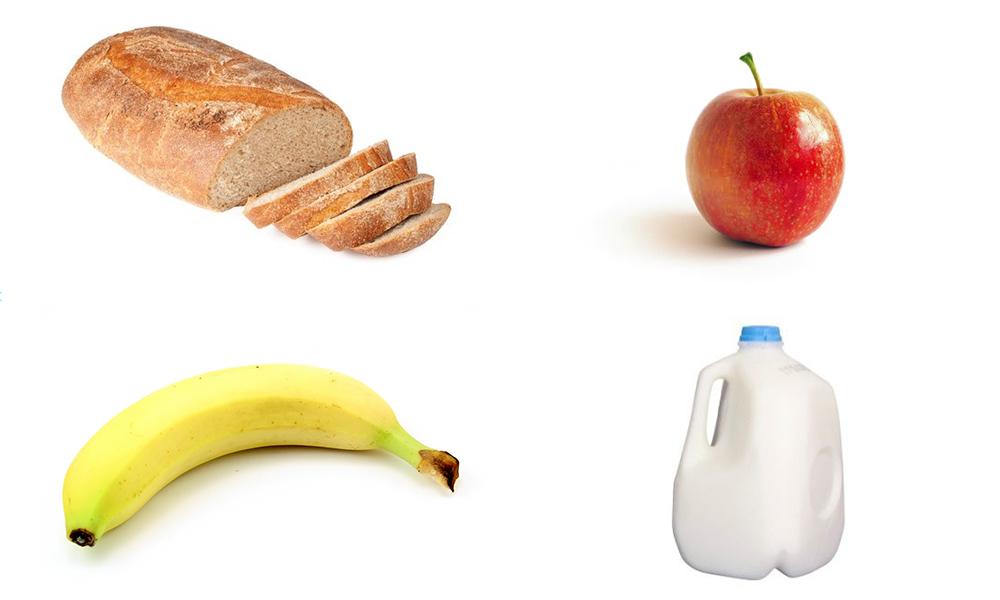 Bread, Banana, Apple, Milk, Goodbye
