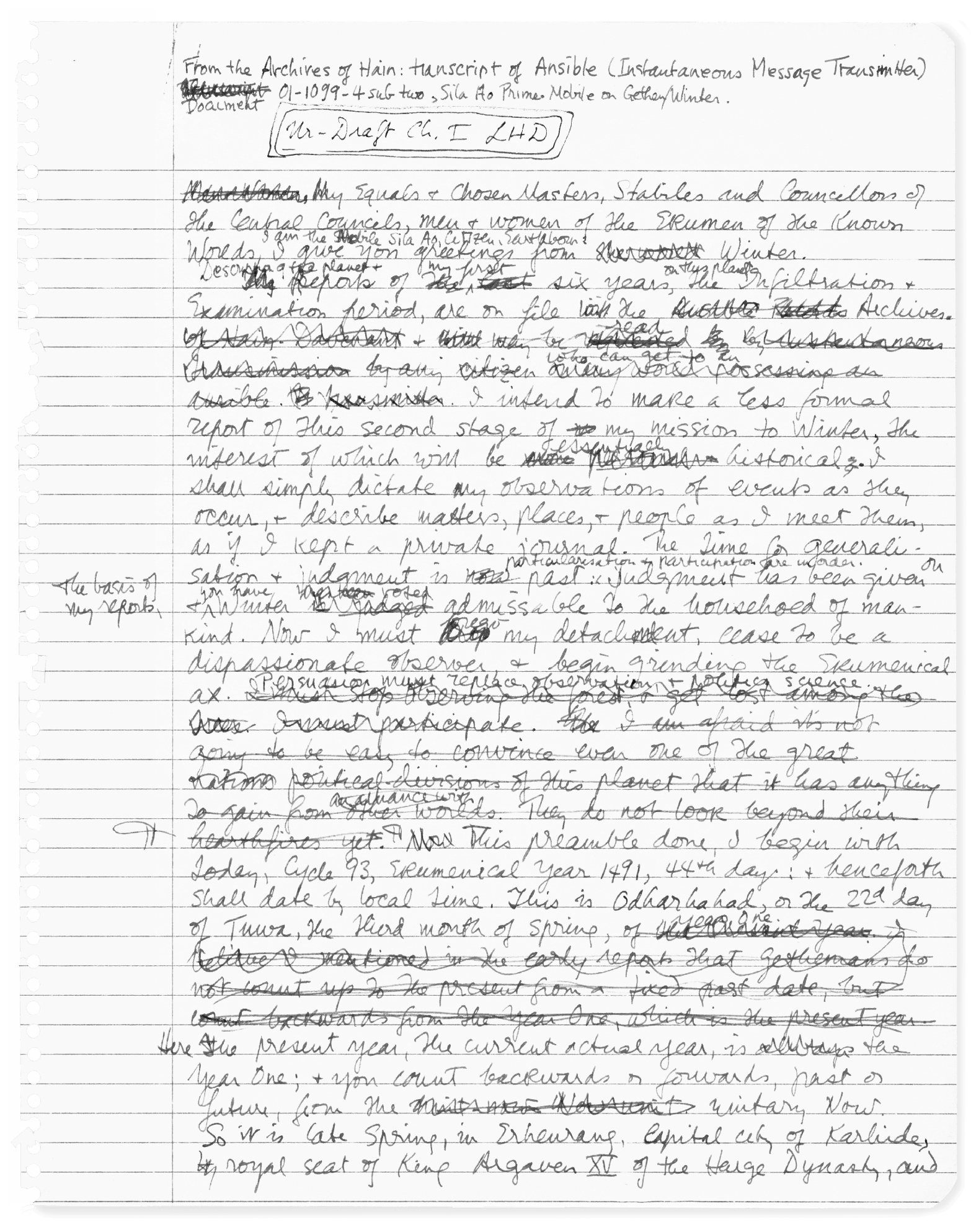 paris review ursula k le guin the art of fiction no  view manuscript
